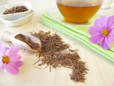 Lapacho Tee Pulver und Tee in einem Glas