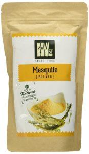 Mesquite Pulver in Packung auf weissem Grund