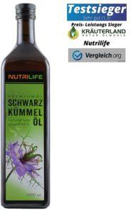 Schwarzkümmelöl auf weissem grund